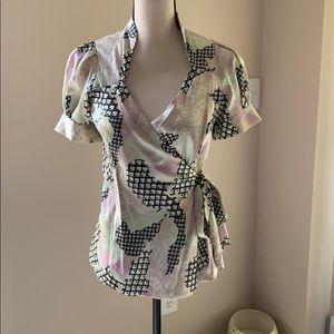 Silk BCBG maxazria wraparound blouse